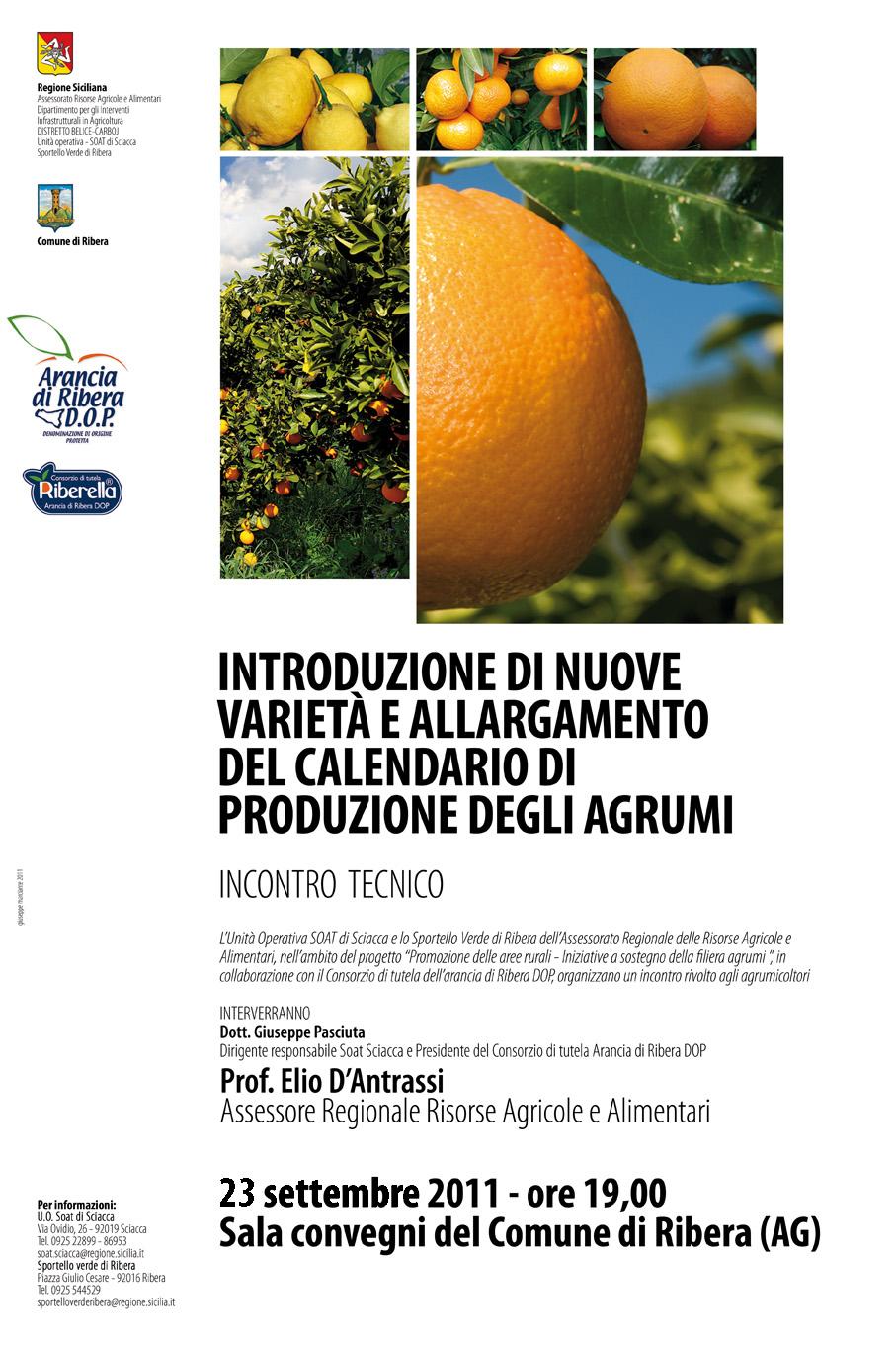 Ribera ag introduzione di nuove varieta 39 e ampliamento for Calendario concimazione agrumi