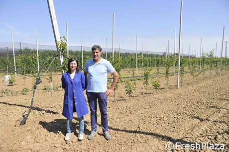 Nadia With Technician Davide Marconi From Apofruit In Front Of A New Cherry Orchard